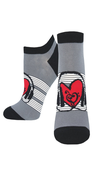 [70809272] Socks - black & grey with a red heart in the middle with headphones & a treble & bass clef. Women's shoe size 5-10.5 Sock Smith.