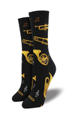 [70809269] Socks - Black with gold brass instruments.  Women's shoe size 5-10.5 Sock Smith.