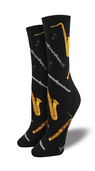 [70809266] Socks - Black with woodwind instruments, treble clefs & notes. The instruments are brown, gold, silver or grey. Fits womens Shoe Size 5-10.5. Sock Smith.