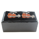 [7080855] Cufflinks - Brown Violins with Silver Clasp in Gift Box