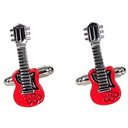 [708084172] Cufflinks Guitar - red body with silver neck. GDesign