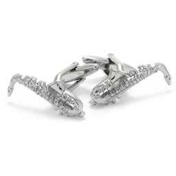 [708084412S] CUFFLINKS SILVER SAXOPHONE. BEAUTIFUL DETAIL OF ALL THE KEYS. CLINKS