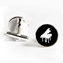[70809016S] Cufflinks glass dome black with a white grand piano. Silver base.