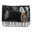 [708084216] Tolitery bag - black with a gold treble clef & keyboard design. 25cm x 17cm