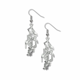 [70808596] Earrings - Musical notes - silver earrings with several musical notes.