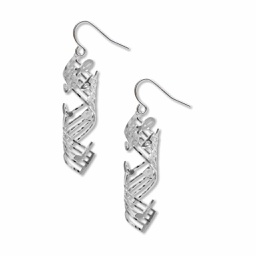 [70809930] Earrings silver - MINUTE WALTZ by Chopin. Finish: Solid brass, electro-plated with non-tarnishing silver finish, ear wires are hypo-allergenic.