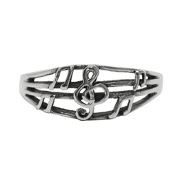 [70708072S] SILVER RING TREBLE CLEF & NOTES.  SMALL SIZE 7