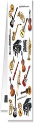 [70809770] Bookmark with magnet. White with various musical instruments.