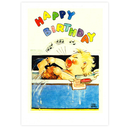 [70809615] Greeting Card - Baby singing in the bath. Happy Birthday. Laughing Elephant design.