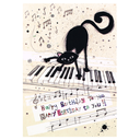 [70803216] GREETING CARD - Cat Keyboard - Black cat on a white keyboard - Happy Birthday to you  by Jane Crowther. Bug Art.