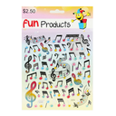 [708084707] Stickers - Colourful notes & clefs, metallic.  Fun Products.