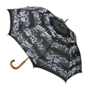 [70113031] UMBRELLA-Black W/ White MUSIC NOTES Large UMBRELLA