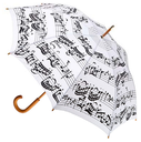 [70113032] UMBRELLA-White W/ Black MUSIC NOTES Large UMBRELLA
